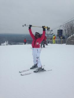 Sheri skiing